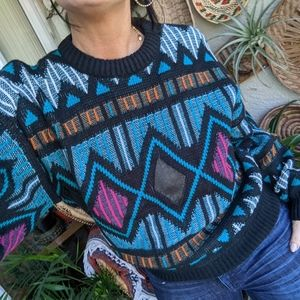 Vintage '80s M Sweater Geometric Leather Patches